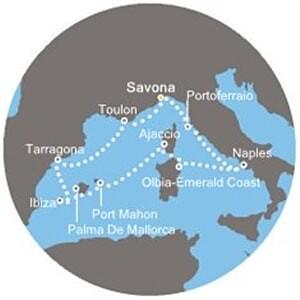 Costa Victoria - Itálie, Španělsko, Baleáry, Korsika (ze Savony)