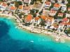 Apartmány Hibiskus - letecký pohled, Mandre, ostrov Pag, Chorvatsko