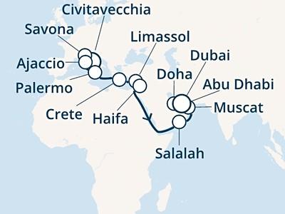 Costa Smeralda - Itálie, Korsika, Řecko, Kypr, Omán, Arabské emir...