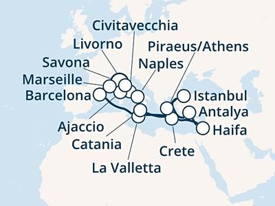 Costa Luminosa - Itálie, Korsika, Francie, Španělsko, Malta, Řec...
