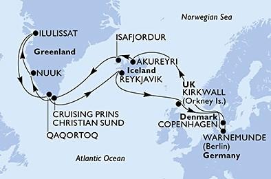 Msc Poesia - Německo,Island,Grónsko,Velká Británie,Dánsko (Warnemünde)