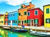 Burano v benátské laguně se nachází 7 km od Benátek a je známé svými barevnými domy
